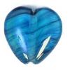 Glass Pressed Beads 10x10mm Heart Petroleum Blue
